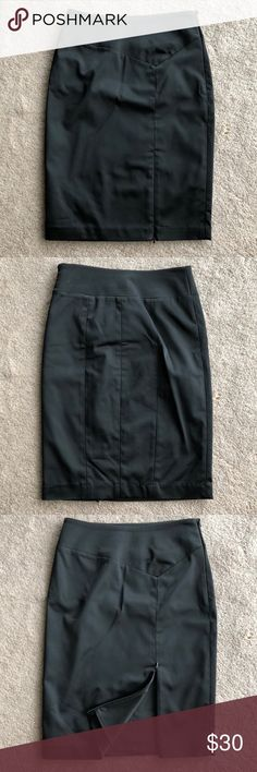 Bebe Black Side Slit Skirt Black side zipper slit skirt. Can zip or unzip slit to expose as much leg as you want. Silk look appearance. bebe Skirts Pencil