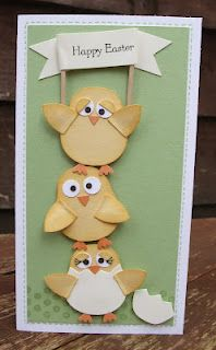 handmade Easter card ... tall and thin (#10 envelope) format ... Chicks made with Stampin' Up!'s Owl SU Owl Punch ... cute and clever ... delightful card!!