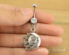 belly ring,sun and moon belly button rings,bellybutton jewelry,navel ring,body piercing,friendship bellyring,Celestial belly ring $5.99