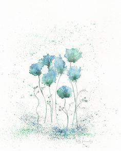 Blue Fields of Love/ Blue Green Flowers/ Archival by kellybermudez, $20.00
