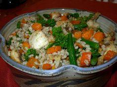 French Barley Salad. Fresh veggies, barley, lemon-dill sauce. SO good.
