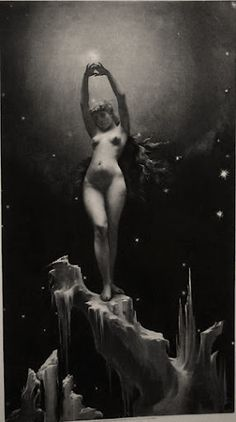 Fine Art Antique Etching after Female Nude Painting of Luis Ricardo Falero entitled The Pole Star, Photo gravure technique, French Antiques Star Goddess, Pole Star, Spanish Painters, Art Graphique, Black Power, Stars And Moon, Occult, Dark Art, Les Oeuvres