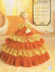 November 1992 Calendar Bed Doll Crochet Pattern Leaflet Annies Barbie Clothes #AnniesAttic