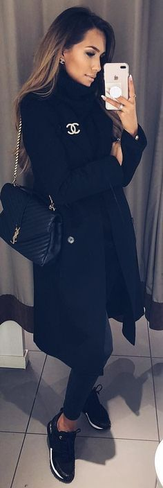 #winter #outfits black Chanel coat