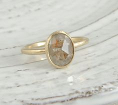 Rose Cut Diamond Engagement Ring 14k Yellow by PointNoPointStudio