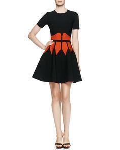 ALEXANDER MCQUEEN Jewel-Neck Dress With Graphic Flame Waist, Black/Red. #alexandermcqueen #cloth #