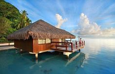 Young woman in Tahiti relaxing on the deck of a bungalow, daydreaming in tropical paradise Beautiful Homes, Beautiful Places, Beautiful People, Bahay Kubo, Polynesian Islands, French Polynesia, Tropical Paradise, Tahiti, Bora Bora