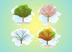 images of the four seasons Halftone Pattern, Vector Trees, Tree Illustration, Green Backgrounds, Future Tattoos, Four Seasons, Greeting Cards, Spring Summer, Ink