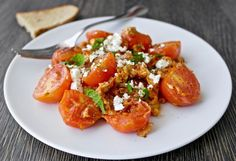 A Greek classic egg recipe: scrambled eggs with tomatoes and feta. Healthy and Yummy.