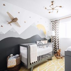 "One of the most frequently asked questions about Hugo's nursery is: ""what colours did you use for the mural?"". The base colour is Chantilly lace, the mountains are Metropolitan, the rolling hills are Kendall Charcoal and snow caps are a mix of Chantilly lace and metropolitan, all from @benjaminmoore . Blog post is up with more details! #leclairdecor"