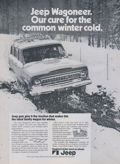 1972 Jeep Wagoneer Car Ad 4-Wheel Drive Vehicle Vintage Automobile Advertisement Print Wall Art Decor