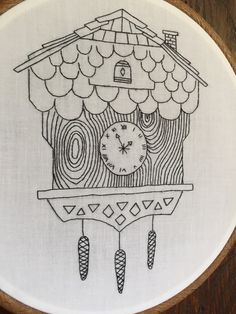 Cuckoo Clock embroidery hoop art by thefloralfoxart on Etsy