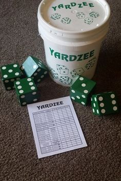 Giant Wood Yardzee Set- Yahtzee Inspired for outdoor games- Hand Cut and Carved Colored Dice by Scrappychicksonvinyl on Etsy Outdoor Yard Games, Outdoor Toys, Backyard Games, Giant Outdoor Games, Outdoor Fun, Diy Games, Party Games, Giant Yard Games, Yard Yahtzee