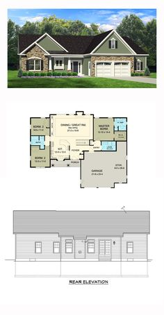 Ranch House Plan 54003   Total Living Area: 1598 sq. ft., 3 bedrooms and 2 bathrooms. #ranchhome