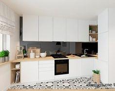 SKANDYNAWSKA NOWOCZESNA KUCHNIA - Mała otwarta kuchnia w kształcie litery l w aneksie, styl skandynawski - zdjęcie od design me too