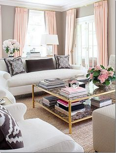 2015 trends via Cote de Texas, gold coffee table, gold curtain rods, blush pinkish drapery, whites with colour