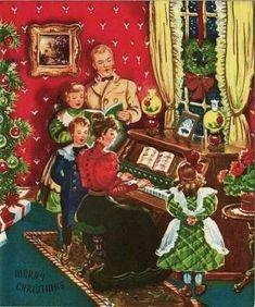 Old Christmas Post Cards — Christmas Carols Old Time Christmas, Christmas Post, Old Fashioned Christmas, Christmas Scenes, Victorian Christmas, Retro Christmas, Christmas Greetings, Family Christmas, Vintage Christmas Images