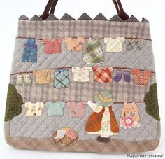 Bag and cosmetic bag with applique Linen on the rope Patchwork Bags, Quilted Bag, Sunbonnet Sue, Embroidered Bag, Clothes Line, Handmade Bags, Beautiful Bags, Quilt Making, Paper Piecing