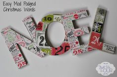 Mod Podged Holiday Letters #Christmas #crafts