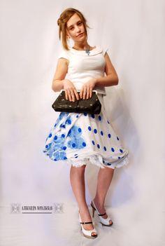 авторская юбка, аукцион одного дня, юбка в горошек, авторская ручная работа, пышная юбка, красивые юбки, юбка солнце