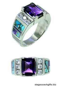 Amethyst, Turquoise, Created Opal, and Sugilite Native American Handmade Ring #TurquoiseJewelry http://stagecoachgifts.biz/collections/jewelry