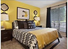 50 Yellow Bedroom for Your Child's Room Idea to Sleep Feels Warm. Yellow Bedroom For Your Child's Room Idea To Sleep Feels Warm You may use some bold color which are not typically utilised in a bedroom. To the contrary, in the event […] Yellow Gray Bedroom, Black White Rooms, Bedroom Black, Bedroom Wall, Bedroom Decor, Yellow Black, Bedroom Ideas, Yellow Bedrooms, Warm Bedroom