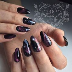 Installation of acrylic or gel nails - My Nails Cat Eye Nails, Aycrlic Nails, Sexy Nails, Dope Nails, Hair And Nails, Witchy Nails, Galaxy Nail Art, Space Nails, Stylish Nails