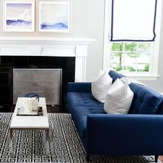 21 Trendy home decored blue living room navy sofa Living Room With Fireplace, Living Room Grey, Small Living Rooms, Living Room Sofa, Living Room Decor, Living Room Ideas Navy Sofa, Navy Blue And Grey Living Room, Living Spaces, Room And Board Furniture