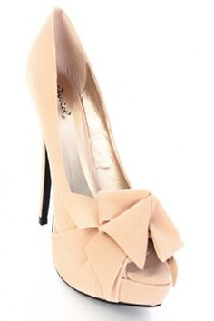 Nude Velvet Bows Peep Toe Platform Heel Pumps $7.99
