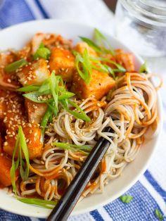 Crispy Korean Tofu Noodle Bowls