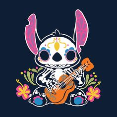 Calavera Alien from NeatoShop Butterfly Wallpaper Iphone, Disney Phone Wallpaper, Cute Stitch, Lilo And Stitch, Stich Quotes, Angel Sketch, Day Of The Shirt, Stitch And Angel, Disney Artwork