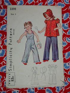 Vintage Pattern c.1940 Simplicity No.3398 Toddler