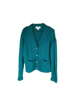 Vintage Teal Cardigan | 80s Nautical Sweater | 90s Turquoise Sweater | Button Up Sweater | 1980s Teal Sweater | 1990s Cardigan | Large L by KazooThrift on Etsy https://www.etsy.com/listing/470855740/vintage-teal-cardigan-80s-nautical