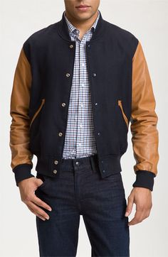 Team jacket by Shipley & Halmos 'Ralphie'. Smooth leather sleeves and pointed pocket trim enhance the vintage appeal of a classic varsity-style jacket crafted from thick, durable wool.