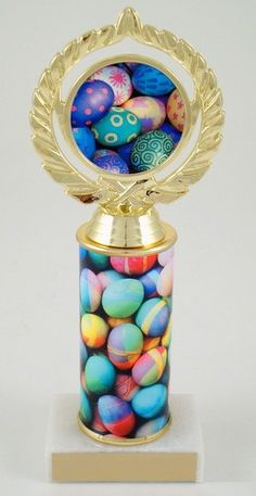 Logo Trophy with Easter Egg Custom Round Column