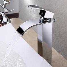 Aero Snail Deck Mount Widespread Waterfall Bathroom Sink Faucet Chrome Finish Single Handle Mixer Taps