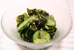 super easy seaweed cucumber salad. I simply eat it with ponzu and it tastes great. you could add sesame seeds, katsuo bushi and make it even better!