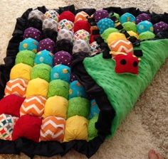 rainbow bubble quilt and caterpillar