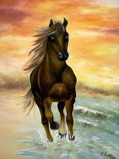 Quadro � �leo - Cavalo na Praia