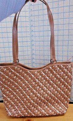 ce64ccf59bc Nine West Woven Tote Brown white Shoulder Bag Double Straps  NineWest   ShoulderBag Vintage Purses