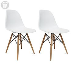 Designer Modern Plastic Dining Side Chair WoodLeg Eiffel Base Set of 2 (*Amazon Partner-Link)