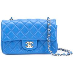 Pre-owned Chanel Vintage mini rectangular flap bag ($5,260) ❤ liked on Polyvore featuring bags, handbags, shoulder bags, blue, quilted shoulder bag, blue purse, vintage shoulder bag, chanel shoulder bag and mini purse