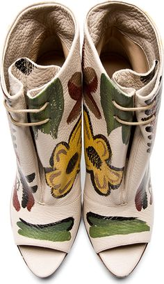 Burberry Prorsum: Beige Leather Hand Painted Ankle Boots