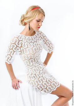 Купить Белое платье в технике брюгге - белый, однотонный, кружево, сексуальное платье, свадебное платье
