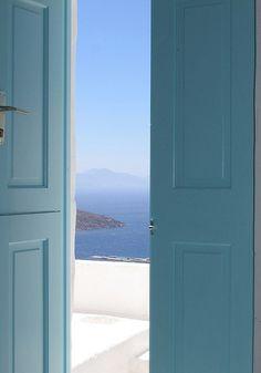 Santorini, Greece - Doorway to Heaven Entrance Doors, Doorway, Entrance Ideas, Garden Entrance, Elle Decor, Blue Aesthetic, Greek Islands, Shades Of Blue, Beautiful Places