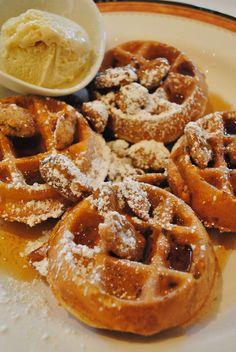 Maple Pecan Waffles with Maple Ice Cream...for breakfast at @JW Marriott Las Vegas Resort!