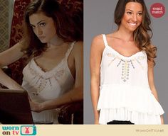 Hayley's white embroidered tiered top on The Originals. Outfit Details: http://wornontv.net/20783 #TheOriginals #TheCW