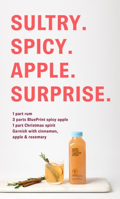 Blueprint spicy apple maple smash pour the flavor of fall into a just mix blueprint raw organic apple ginger lemon cayenne juice with rum and garnish with malvernweather Gallery