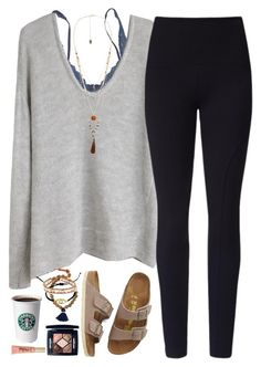 """""""Cozy outfit for a relaxed day"""" by lilypackard ❤ liked on Polyvore featuring Hanky Panky, Helmut Lang, Lyssé Leggings, Birkenstock, Violeta by Mango, Chan Luu, Christian Dior and Too Faced Cosmetics"""