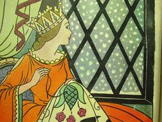Queen Sewing in Window from 1937 Snow White Book , Illustrations by Bess Livings